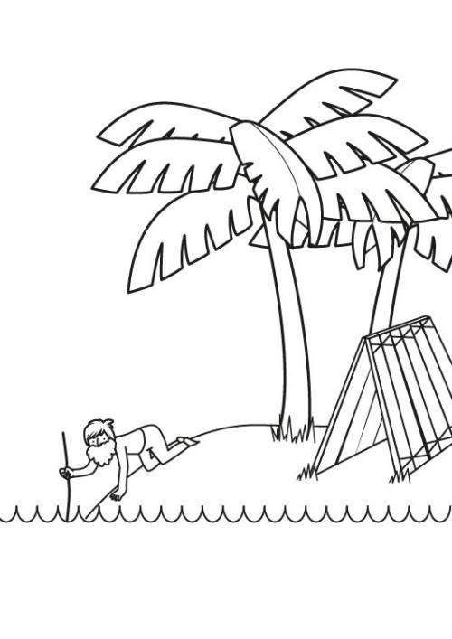 Kostenlose Malvorlage Marchen Robinson Crusoe Zum Ausmalen Zum