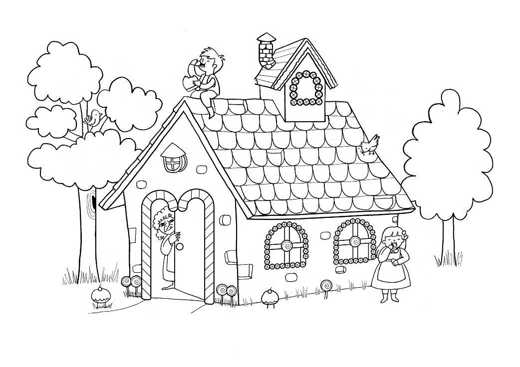 Hansel And Gretel House Coloring Page