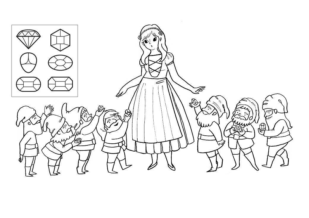 Ausmalbild Märchen: Schneewittchen zum Ausmalen kostenlos ausdrucken