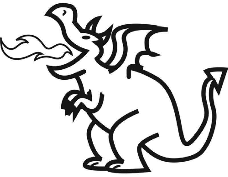 Ausmalbild Märchen: Feuerspeiender Drache kostenlos ausdrucken