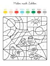 malen nach zahlen: zwei kinder ausmalen zum ausmalen
