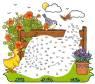 Malen nach Zahlen: Malen nach Zahlen: Schnecke am Zaun zum Ausmalen