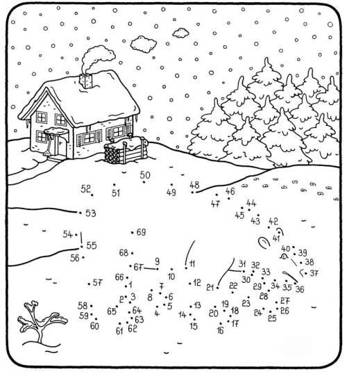 Kostenlose Malvorlage Malen Nach Zahlen: Eisbär Im Schnee