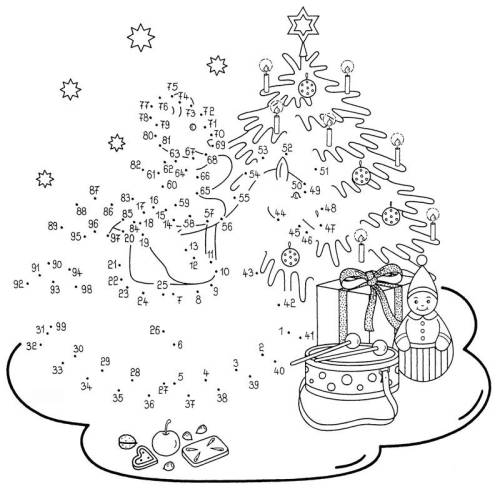 kostenlose malvorlage malen nach zahlen christbaum zum