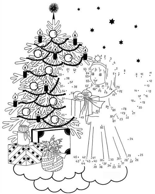 Kostenlose Malvorlage Malen Nach Zahlen Weihnachtsengel Zum Ausmalen