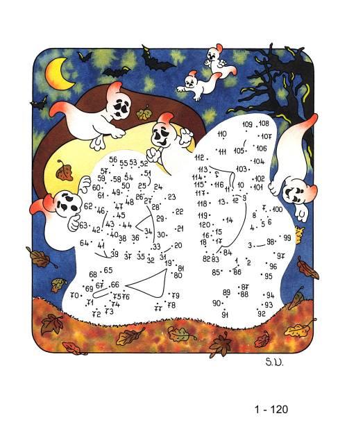 kostenlose malvorlage malen nach zahlen halloweengeister