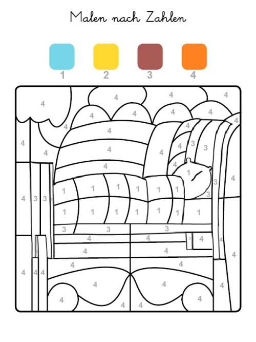 kostenlose malvorlage malen nach zahlen bett ausmalen zum ausmalen. Black Bedroom Furniture Sets. Home Design Ideas