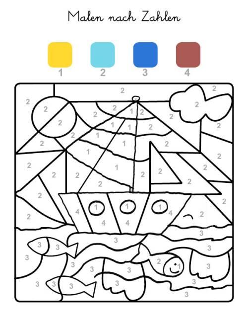 kostenlose malvorlage malen nach zahlen boot ausmalen zum. Black Bedroom Furniture Sets. Home Design Ideas