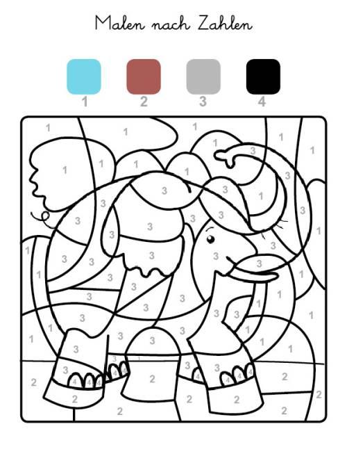 kostenlose malvorlage malen nach zahlen elefant ausmalen