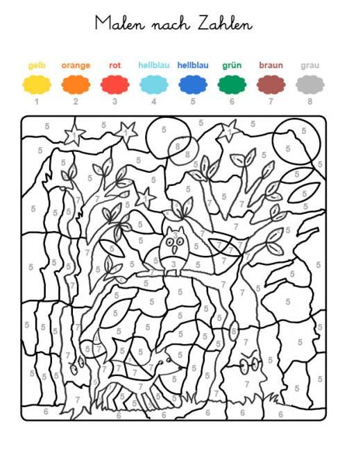 kostenlose malvorlage malen nach zahlen fuchs und eule