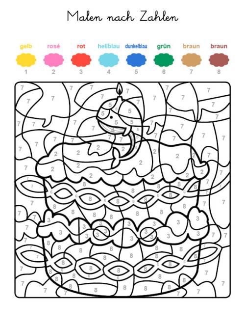 kostenlose malvorlage malen nach zahlen torte zum 9