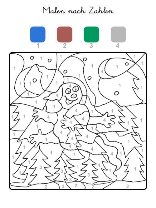 kostenlose malvorlage malen nach zahlen: geisterwald