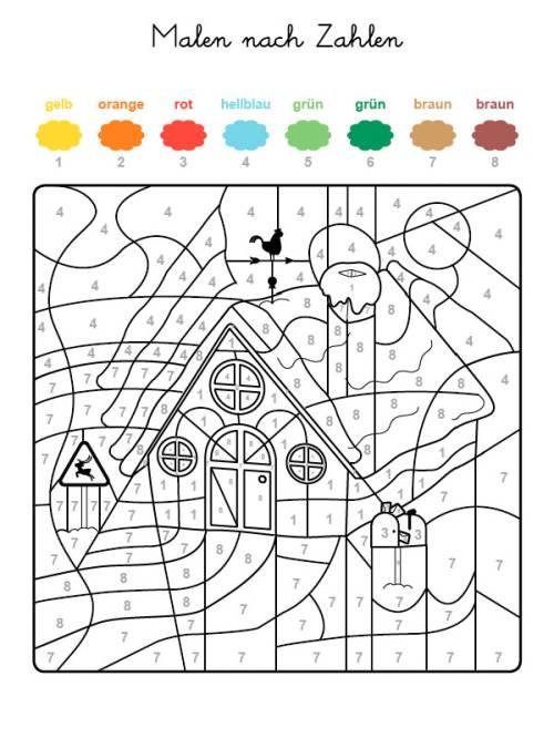 Kostenlose Malvorlage Malen nach Zahlen: Haus im Schnee ausmalen zum ...