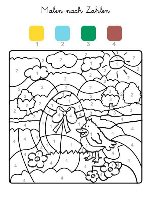 kostenlose malvorlage malen nach zahlen osterei und küken
