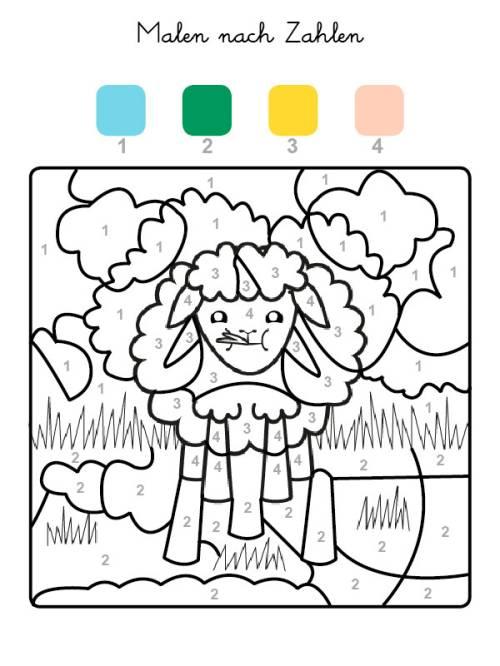 kostenlose malvorlage malen nach zahlen: schaf ausmalen