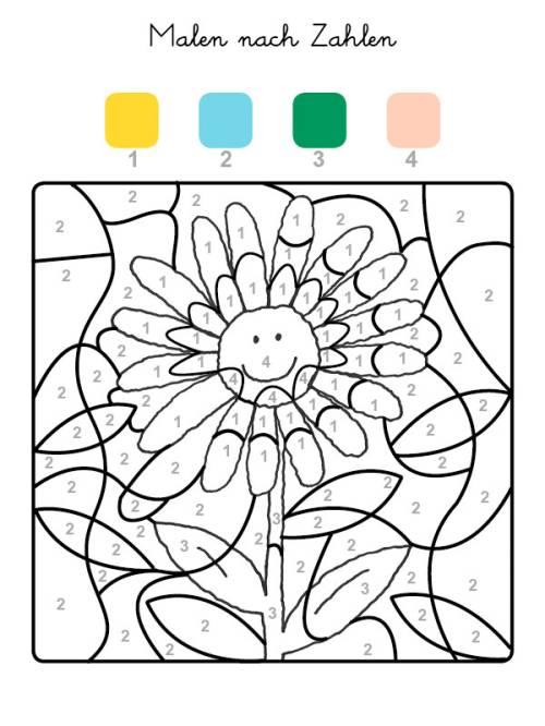 kostenlose malvorlage malen nach zahlen sonnenblume