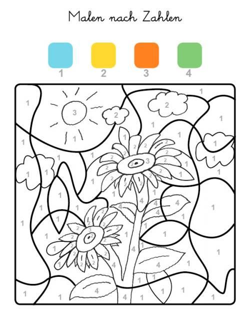 Kostenlose Malvorlage Malen nach Zahlen: Sonnenblumen ausmalen zum ...