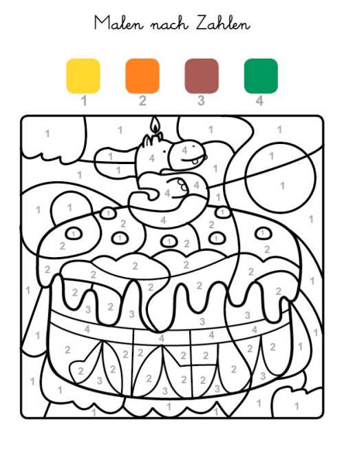 kostenlose malvorlage malen nach zahlen torte zum 5
