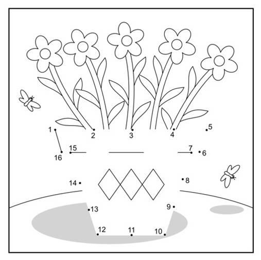 Kostenlose malvorlage malen nach zahlen blumentopf zum for Blumentopf tiere
