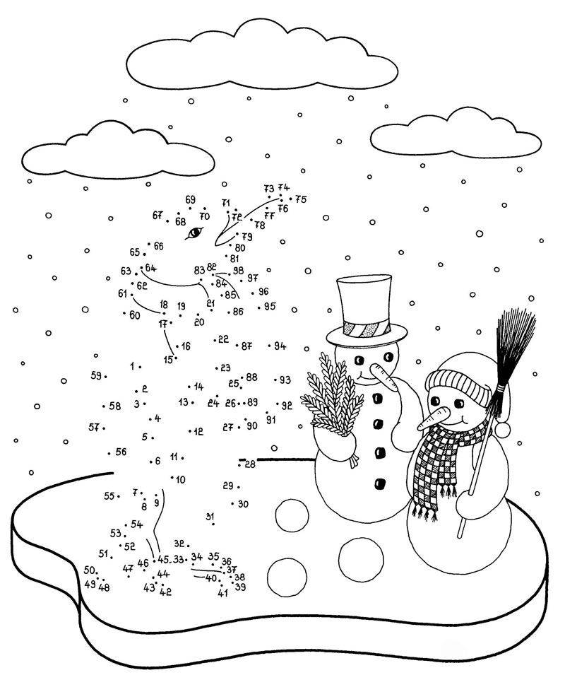 Ausmalbild Malen Nach Zahlen Pinguin Und Schneemanner Kostenlos Ausdrucken