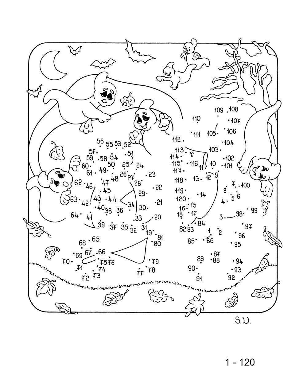 Ausmalbild Malen nach Zahlen: Halloween-Gespenster kostenlos ausdrucken