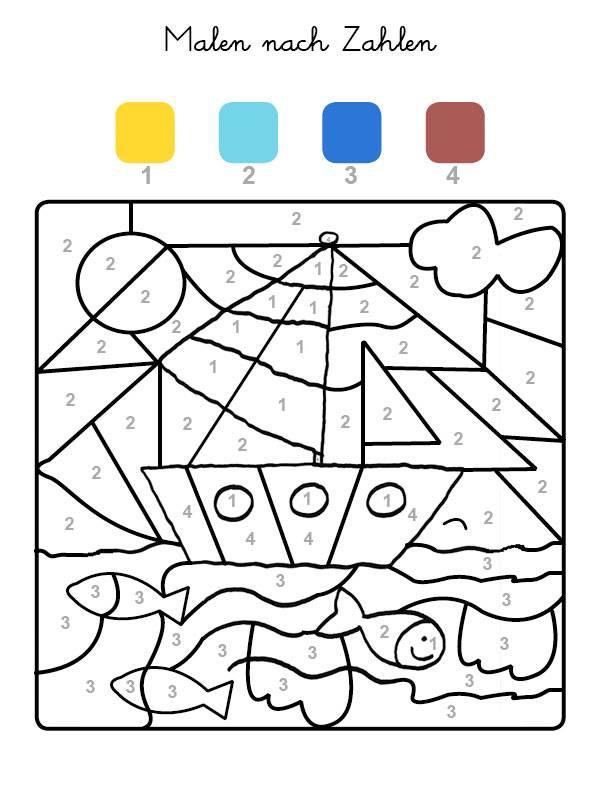 Ausmalbild Malen nach Zahlen: Boot ausmalen kostenlos ausdrucken