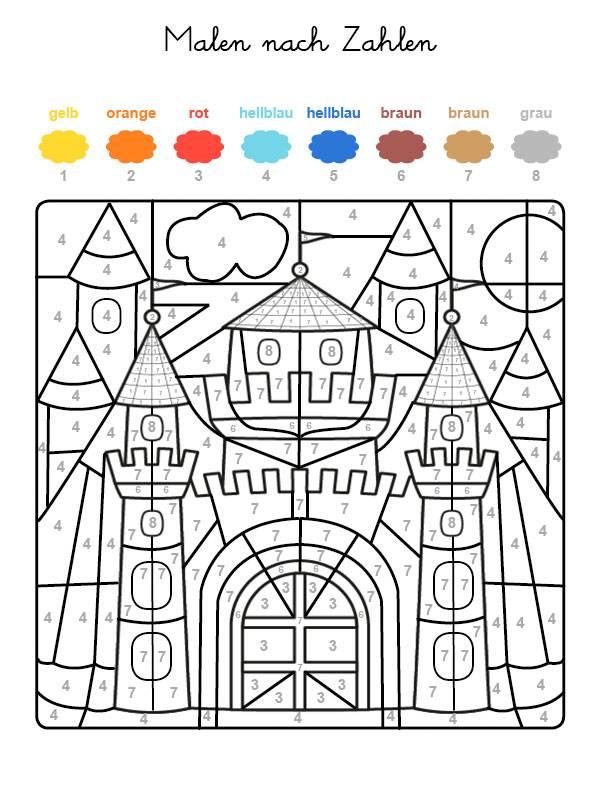 Ausmalbild Malen nach Zahlen: Burg ausmalen kostenlos ausdrucken