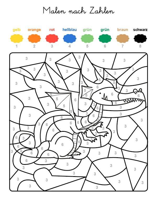 ausmalbild malen nach zahlen drache ausmalen kostenlos