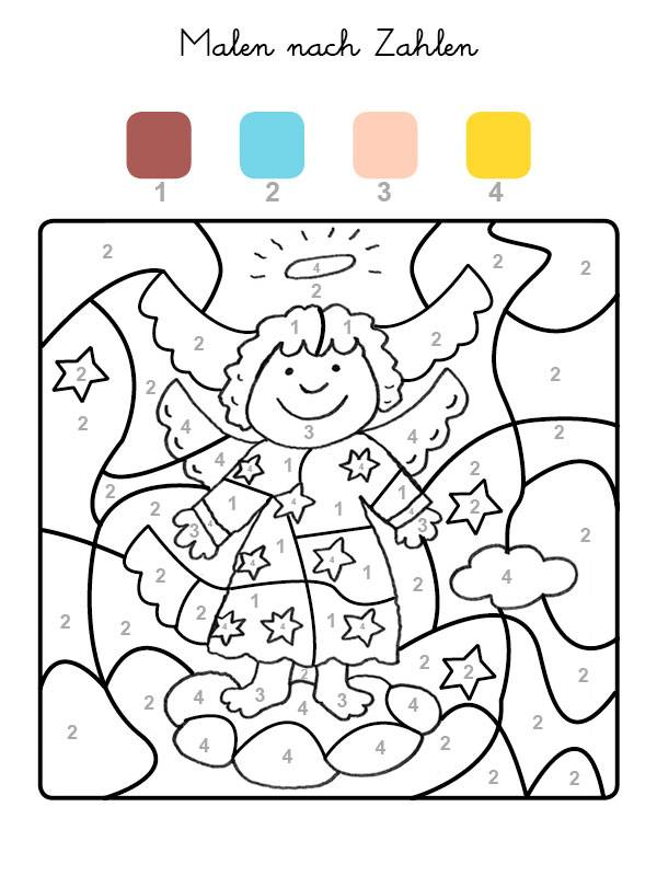 Ausmalbild Malen nach Zahlen: Engel ausmalen kostenlos ausdrucken