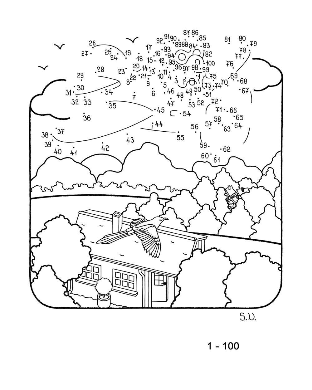 Malen nach Zahlen Flieger in den Wolken zum Ausmalen