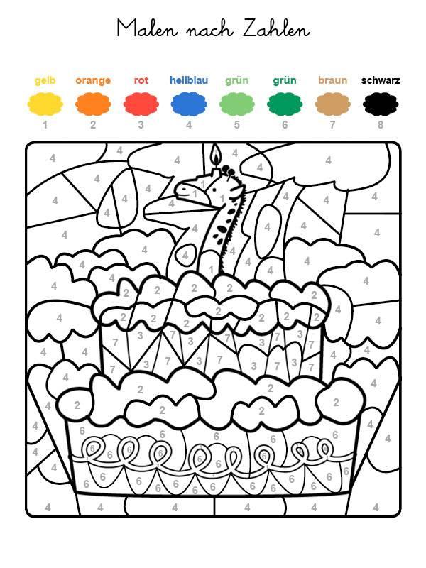 ausmalbild malen nach zahlen torte zum 7 geburtstag
