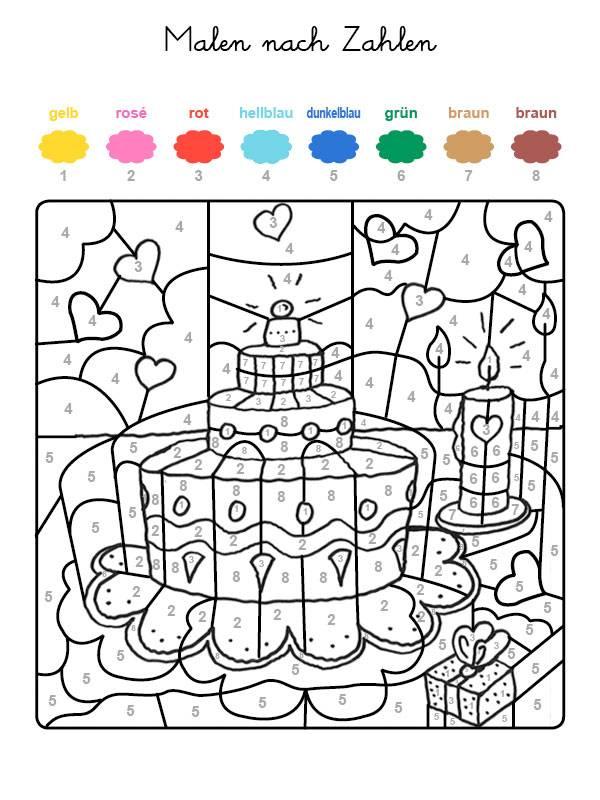 Ausmalbild Malen Nach Zahlen Geburtstagstorte Mit Herzen Ausmalen