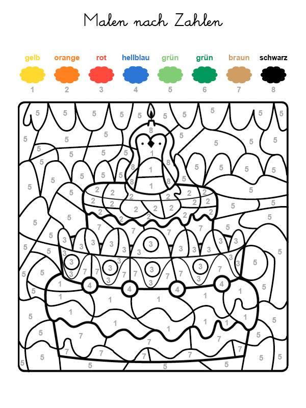 Ausmalbild Malen Nach Zahlen Torte Zum 8 Geburtstag Ausmalen