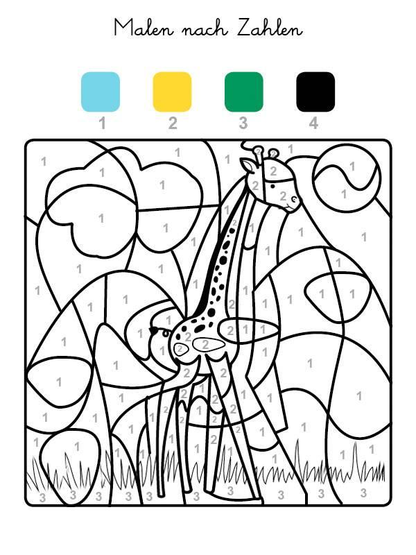 Ausmalbild Malen nach Zahlen: Giraffe ausmalen kostenlos ausdrucken