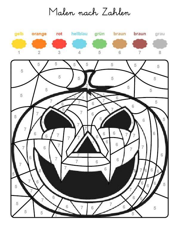 Charmant Halloween Färbung Nach Zahlen Galerie - Ideen färben ...