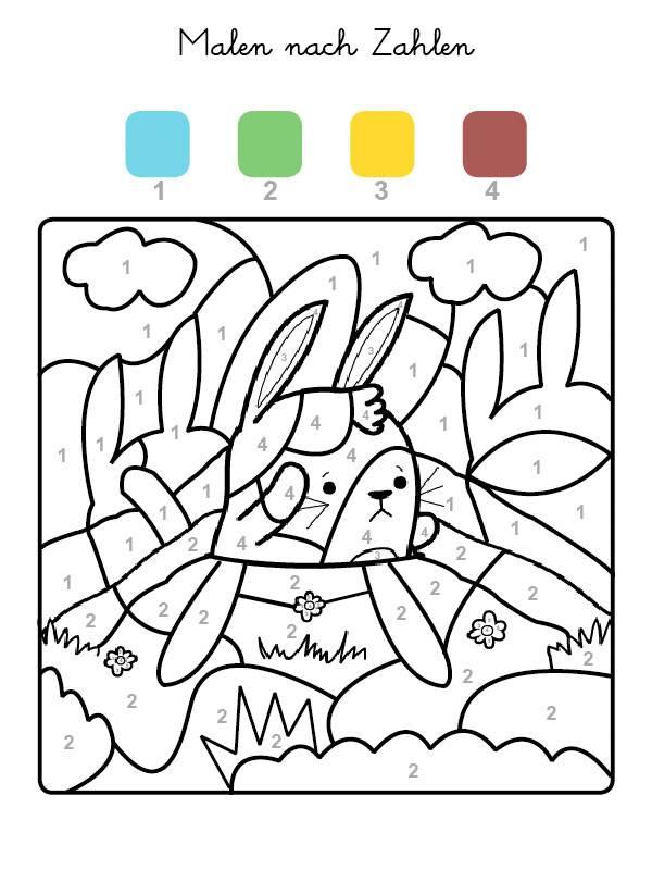 Ausmalbild Malen nach Zahlen: Hase ausmalen kostenlos ausdrucken