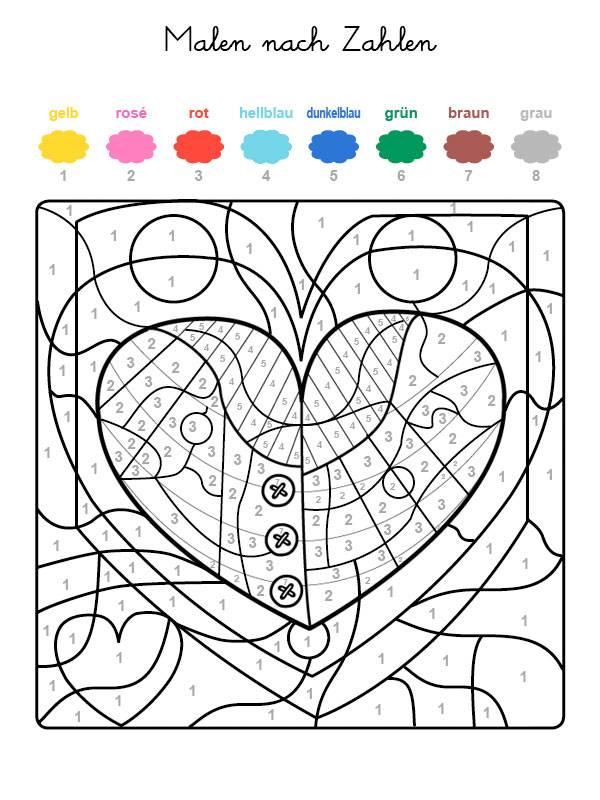 Ausmalbild Malen nach Zahlen: Herz ausmalen kostenlos ausdrucken