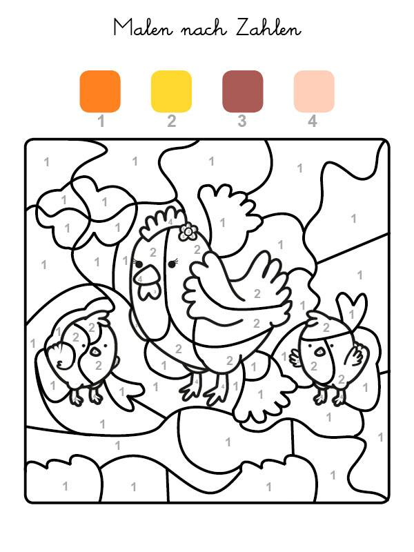 ausmalbild malen nach zahlen hühner ausmalen kostenlos