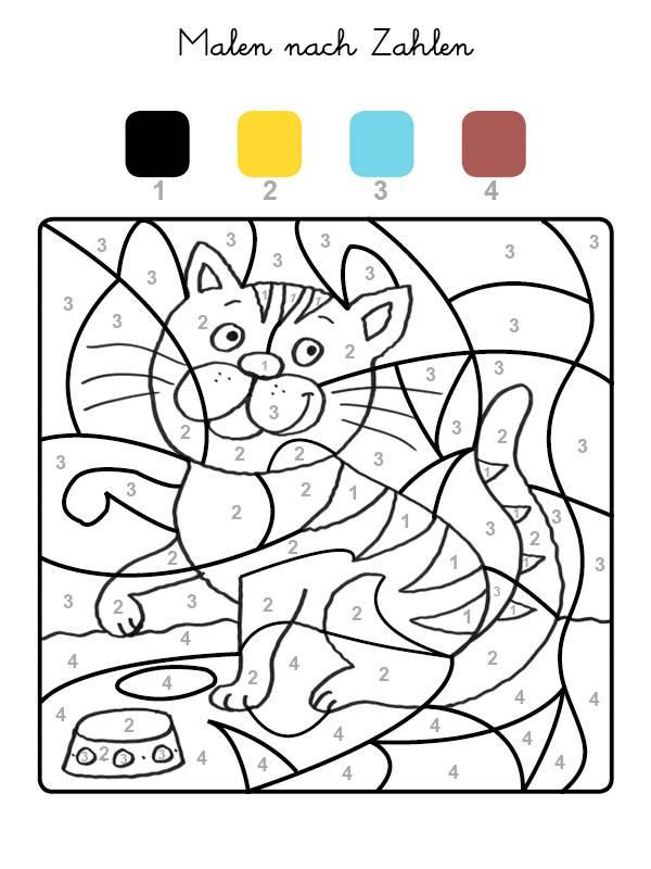 ausmalbild malen nach zahlen kätzchen ausmalen kostenlos