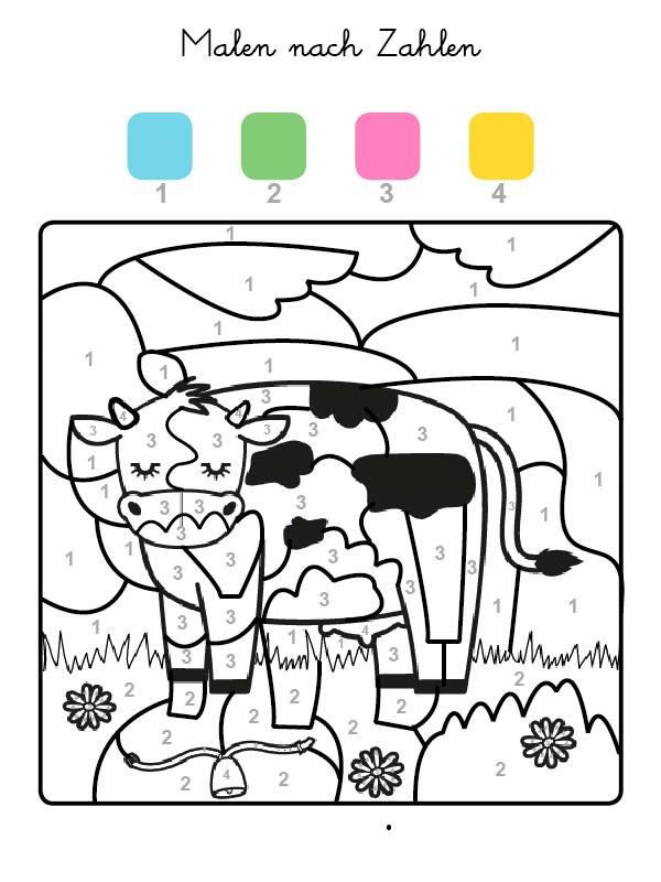 Kostenlose Malvorlage Malen nach Zahlen: Kuh ausmalen zum Ausmalen