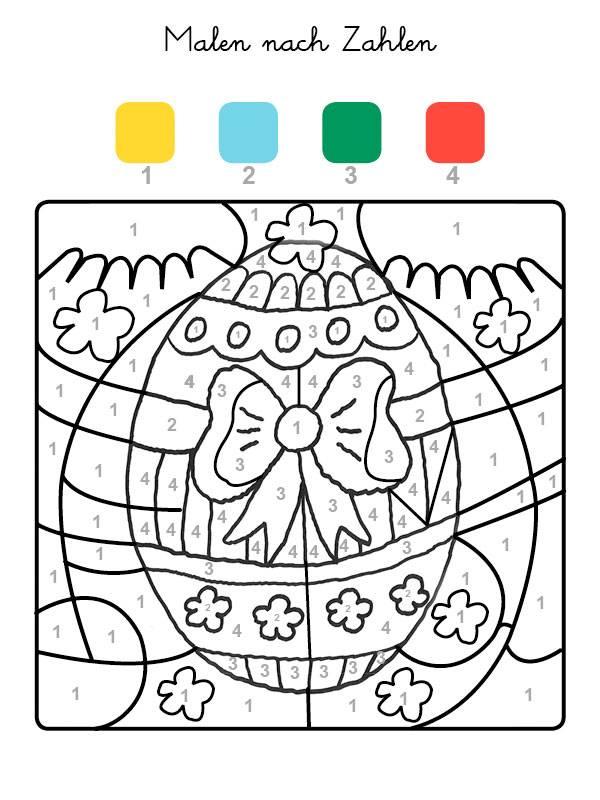 Ausmalbild Malen nach Zahlen: Osterei ausmalen kostenlos ausdrucken