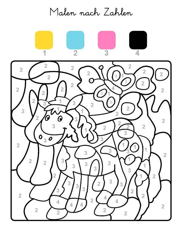 Ausmalbild Malen nach Zahlen: Pferd ausmalen kostenlos ausdrucken