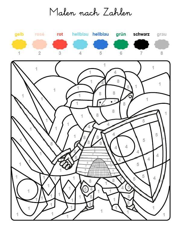 Ausmalbild Malen nach Zahlen: Ritter ausmalen kostenlos ausdrucken
