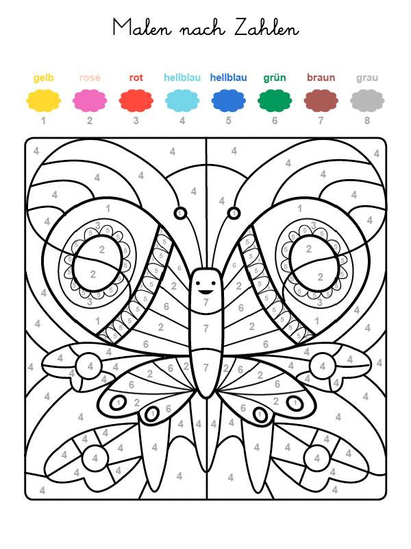 Ausmalbild Malen nach Zahlen: Schmetterling ausmalen kostenlos ...
