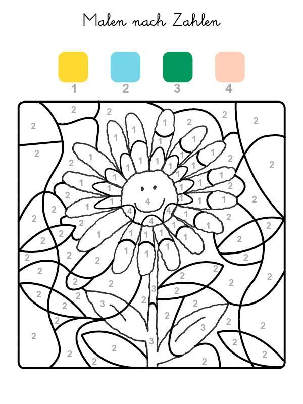 kostenlose malvorlage malen nach zahlen: sonnenblume