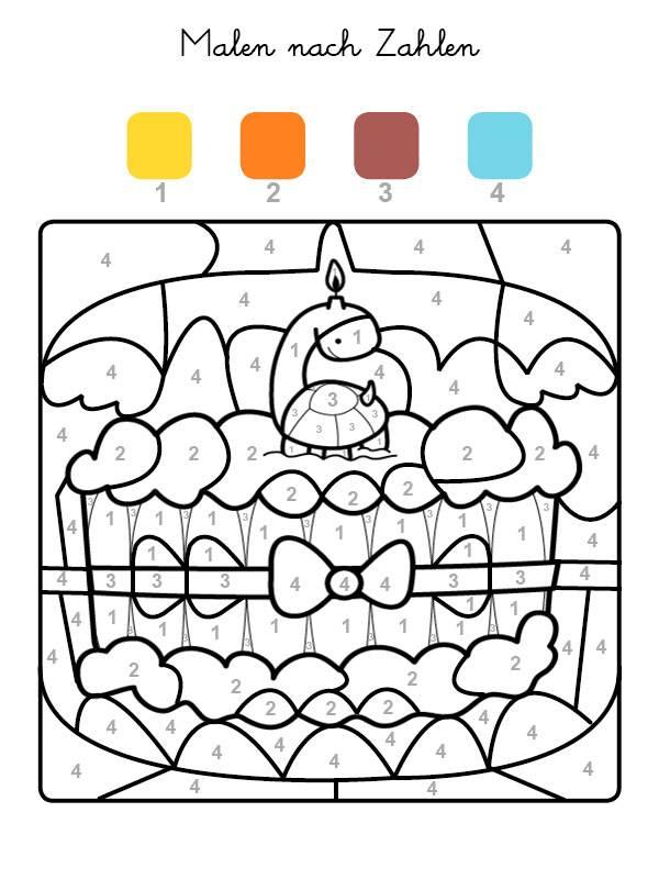 Ausmalbild Malen Nach Zahlen Torte Zum 6 Geburtstag Ausmalen
