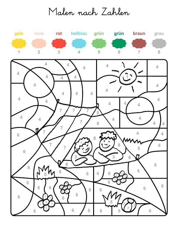 ausmalbild malen nach zahlen zwei kinder ausmalen