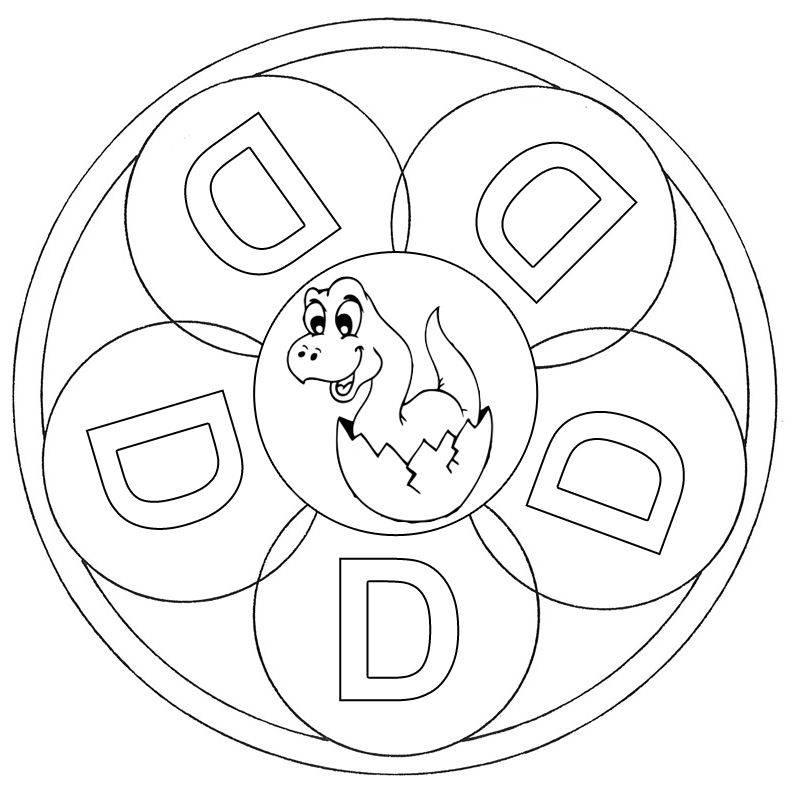 Ausmalbild Mandalas: Mandala Buchstabe D zum Ausmalen kostenlos ...