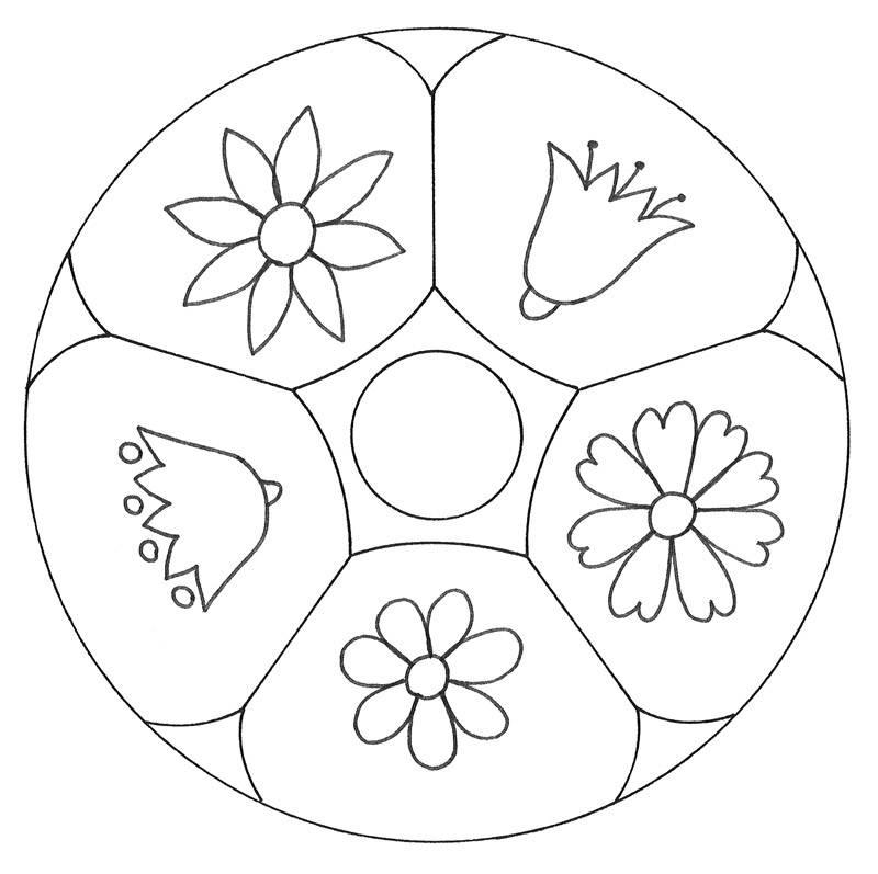 Ausmalbild Mandalas Mandala Mit Blumen Kostenlos Ausdrucken