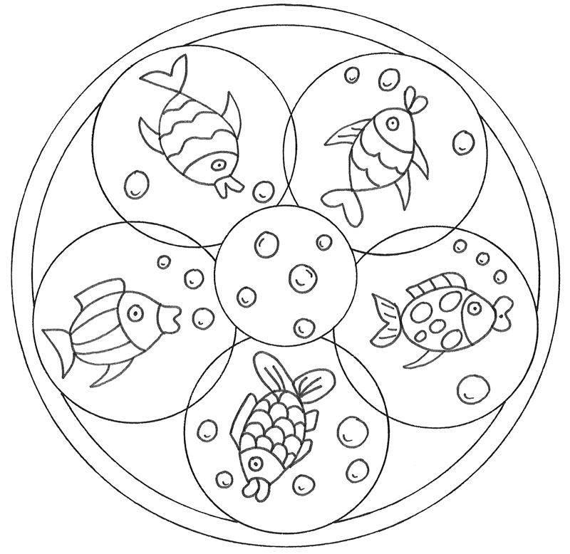 Kostenlose Malvorlage Mandalas: Mandala mit Fischen zum Ausmalen